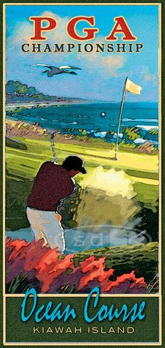 PGA Championship Golf reward sports activities artwork poster print portray - Hobbies and Interests World Kiawah Island Golf, Golf Card Game, Golf Ball Crafts, Best Golf Clubs, Golf Art, Vintage Golf, Perfect Golf, Golf Lessons, Golf Humor