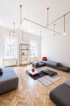 copper and home: batlab remodels house with web-lights in budapest. copper and home: batlab remodels house with web-lights in budapest. living room lighting ideas More info could be found at the image url. Living Room Flooring, Living Room Interior, Living Room Decor, Living Room Lighting Design, Living Room Designs, Livingroom Lighting Ideas, Interior Lighting, Home Lighting, Living Room Remodel