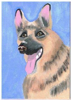 Folk Art painting of German Shepherd Dog,Canvas Painting, Outsider Art,