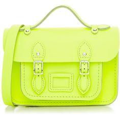 Cambridge Satchel Mini Satchel (4,960 DOP) ❤ liked on Polyvore featuring bags, handbags, neon yellow, leather handbags, green crossbody purse, mini crossbody handbags, leather satchel and leather cross body handbags