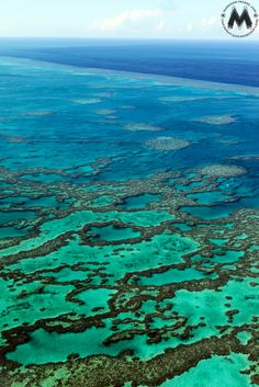 Shallow water atolls at the Great Barrier Reef National Park. Aerial
