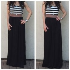 Striped top long maxi dress Striped top mocha band waist chic maxi dress this dress is unique and stylish   PLEASE USE Poshmark new option you can purchase and it will give you the option to pick the size you want ( all sizes are available) BUNDLE And SAVE 10% ( sizes updated daily ) Dresses Maxi