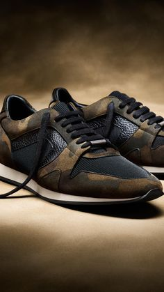 The Field Sneaker in a camouflage print, crafted in Italy from suede, grainy leather and mesh, for contrast textures.