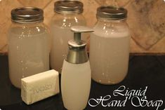 Homemade liquid hand soap (no glycerin). Have not made this yet, so I don't know how it will work.