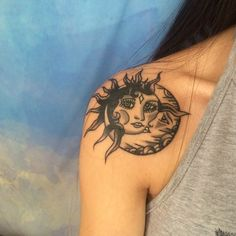 2017 trend Women Tattoo - amazing sun and moon tattoo #ink #YouQueen #girly #tattoos ...