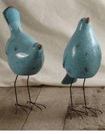 Nellie Birds Blue Set of Three Ceramic & Wire (3 birds/ set ) $9 set