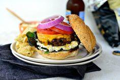 Jalapeno + Cheddar Burgers with Grilled Corn Mayo via www.SimplyScratch.com #burgerweek