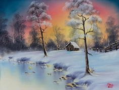 Choose your favorite bob ross paintings from millions of available designs. All bob ross paintings ship within 48 hours and include a money-back guarantee. Winter Scene Paintings, Winter Painting, Bob Ross Paintings, Paintings For Sale, Bob Ross Art, Winter Szenen, Winter Sunset, The Joy Of Painting, Art Aquarelle
