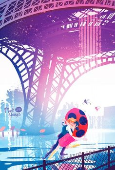 Embracing under the tower (Miraculous Ladybug, Adrien, Marinette, Adrinette)