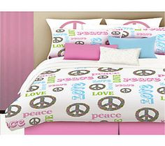 Veratex Peace and Love Twin Comforter Set
