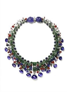 FROM THE COLLECTION OF DAISY FELLOWES - Tutti Frutti necklace, or 'Collier Hindou', created in 1936 by Cartier - Her penchant for exotic jewels, or in close friend & photographer Cecil Beaton's words, 'barbaric jewels', is readily evident in the tantalizing few pieces from her incredible collection that have been sold at auction. Daisy's jewelry acquisitions include some of the most innovative & most important, not to mention the most stunning, jewels to date. © Cartier and N. Welsh -