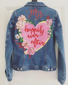 Handpainted denim bride jacket by Troubelle. Wedding Jacket, Vintage Denim, Happily Ever After, Custom Made, Custom Design, Cool Designs, Hand Painted, Bride, Jackets