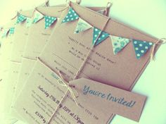 Wedding Invitation. Rustic Teal Bunting by FromLeoniWithLove