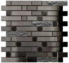 Black Stainless With Black Wave Glass Mosaic Tile