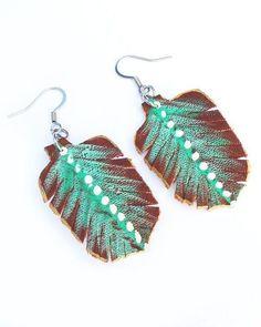 Leather Feather Earrings Boho Style Earrings Brown and Teal. #leatherfeatherearrings #leatherearrings