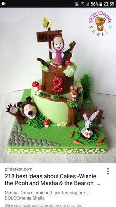 Masha by Sheila Baby Birthday Cakes, Bear Birthday, Fondant Cakes, Cupcake Cakes, Masha Et Mishka, Masha Cake, Marsha And The Bear, Fondant Animals, Minnie Mouse Cake