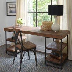 Morella desk - Utilitarian in design and a combination of industrial and rustic in looks. The Morella Desk combines reclaimed and distressed wood with iron for