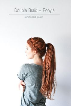 double braid, hairstyle, long hair, ponytail, redhead, the freckled fox