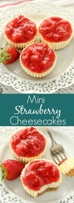 These Mini Strawberry Cheesecakes feature an easy homemade graham cracker crust topped with a smooth and creamy filling and strawberry sauce. Perfect for an easy spring or summer dessert! Mini Strawberry Cheesecake, Mini Cheesecake Recipes, Strawberry Topping, Strawberry Recipes, Mini Cheesecake Cupcakes, Oreo Cheesecake, Strawberry Cheese Cakes, Summer Cheesecake, Köstliche Desserts