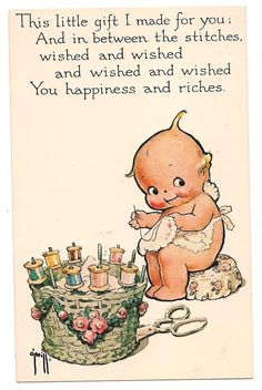 Kewpie sewing postcard