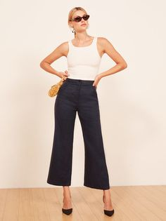 If you have to wear pants. This is a high rise pant with a slightly flared leg, front pockets and a back welt pocket.