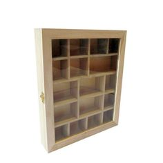 Wooden Glass Fronted Shadow Display Box with compartments & hinged door - Wooden shadow boxes & box frames - Plain Wooden Boxes & Decoupage Blanks | Craftmill