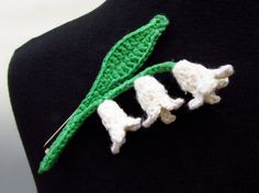 Lily of the Valley Pin hand crocheted cotton and by LindaMagiMade, $15.00 | would make a lovely muguet pin for May 1