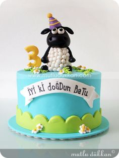 adorable Timmy the sheep cake Fondant Cakes, Cupcake Cakes, Cupcakes, Shaun The Sheep Cake, Timmy Time, Baby Birthday Cakes, Novelty Cakes, Cakes For Boys, Pretty Cakes