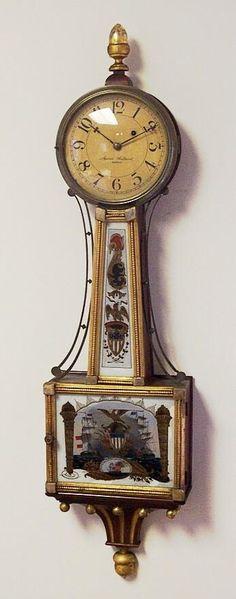 1820's Aaron Willard Antique Banjo Clock With Gilt Front