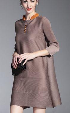 Simple Khaki Stand Collar Sleeve Loose Mini Dress