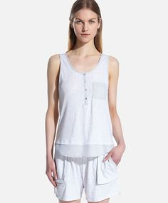 Top with contrasting details, null£ - null - Find more trends in women fashion at Oysho . Sleepwear & Loungewear, Lounge Wear, Pajamas, T Shirt, Women, Fashion, Sleeveless Tops, Pjs, Supreme T Shirt