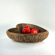 Hand Carved Rustic Wooden Bowl, Heart Shaped Bowl, Farmhouse Decor by OldRedHenVintage on Etsy