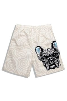 8bb75d2577 Men's Beige Carroon Dog Printed Beach Shorts Us Beaches, Shorts Sale,  French Bulldog,