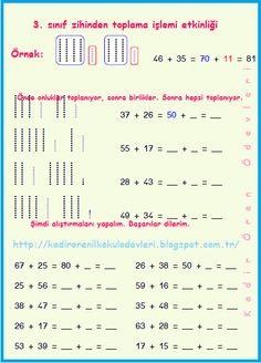 ilkokul ödevleri: 3. sınıf zihinden toplama işlemi