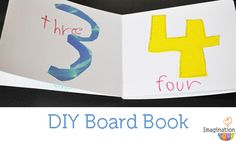 Make your own board books with a kit from Target or blank books from Bare Books.