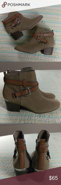Coach Pauline Bootie Women's Sz 7.5 Ankle Boots NWOB Coach Pauline Bootie Women's Sz 7.5 Ankle Boot Suede Leather Brown Buckle Coach Shoes Ankle Boots & Booties