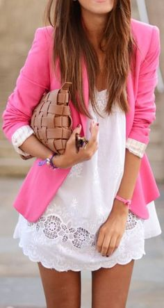 Cute white dress with pink blazer.