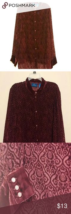 Burgundy Sheer Blouse with Tank Top Sheer top has a velvet pattern, velvet collar and cuffs; gently worn. j.h. collectibles Tops Blouses