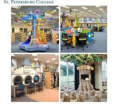 Modern Library Interior Schools Design With Minimalist Wooden Furniture And White Closet Plus Green Flooring Carpet