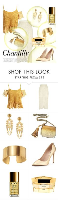 """Golden bubbles"" by lullulu ❤ liked on Polyvore featuring Sans Souci, River Island, Dolce&Gabbana, Gucci, Journee Collection, Valentino, NYX and Guerlain"