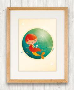 Mermaids nursery art print illustration kids by IreneGoughPrints