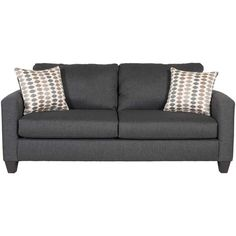 With its clean lines and simple style, the Piper Carbon Sofa from the Piper Upholstery Collection by Fusion Furniture is versatile enough to fit any space. The fresh carbon gray upholstery complements the sofa's uncomplicated track arms and tapered espresso finish feet, while the two coordinating accent pillows add pizzazz.