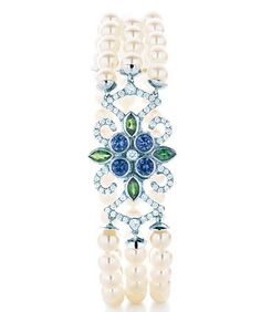 Tiffany cultured pearl bracelet with Montana sapphires, tsavorites and diamonds in platinum, from the 2013 Blue Book Collection.