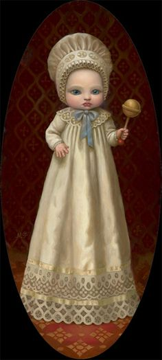 "Marion Peck  ""Baby with a Rattle""    Oil on canvas    2007"