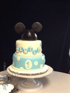 Bentley's First Birthday Cake!! Blue Polka Dot Mickey Mouse Cake