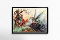 Owl and the Dragon Print Fairy Tale Illustration by GoodGirlCards