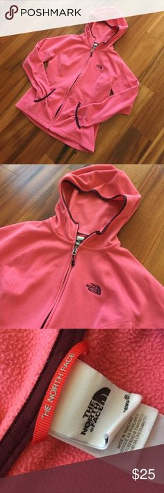 North Face hoodie Cute salmon pink North Face zippered hoodie.  Good used condition. The North Face Tops Sweatshirts & Hoodies