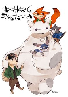 Baymax as a cat w/t big hero 6 characters