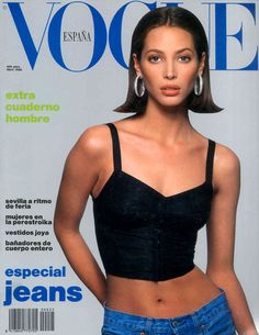 Models of the Christy Turlington on the April 1990 cover of Vogue España Christy Turlington, Vogue Magazine Covers, Vogue Covers, 1990 Style, Elle Mexico, 90s Models, Vogue Uk, Vogue Korea, Vogue Russia