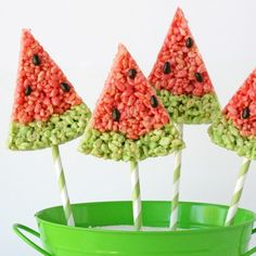 Watermelon Krispie Treats - Glorious Treats - Eating outdoors, enjoying picnics and BBQ's with family and friends is always one of the highlights of my summer.  When planning food (or dessert) for a picnic or BBQ, I need treats that travel well, can handle being left out in the heat, and are easy to eat.  Rice Krispies Treats are an ever popular option for casual summer events.  I love …
